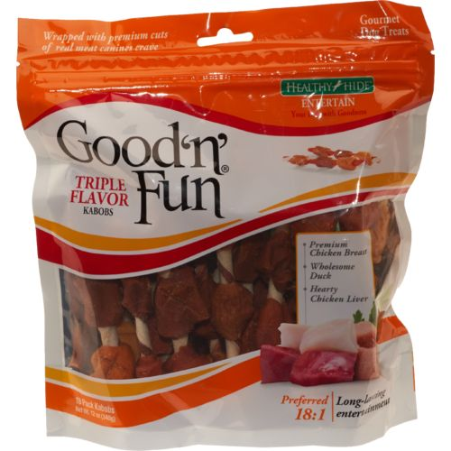 Display product reviews for Healthy Hide Good 'n' Fun Chicken, Duck and Liver Kabobs 18-Pack
