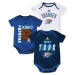 adidas™ Infants' Oklahoma City Thunder 3 Point Spread Bodysuits 3-Pack