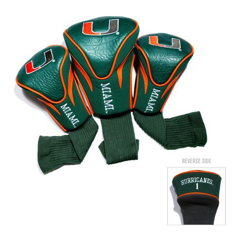 Team Golf University of Miami Contour Sock Head Covers 3-Pack
