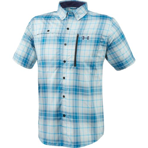 Under armour men 39 s fishing woven tide swing plaid button for Under armor fishing shirt