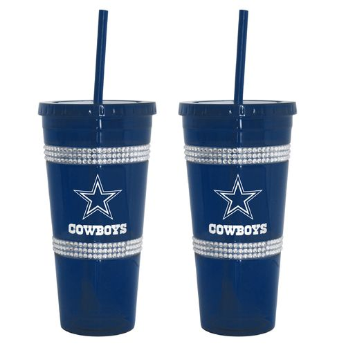 Boelter Brands Dallas Cowboys 22 oz. Bling Straw Tumblers 2-Pack