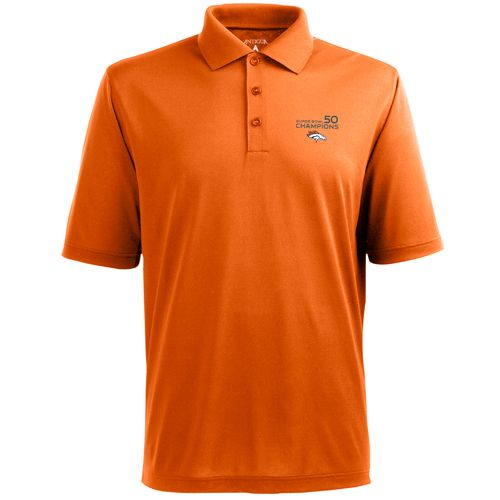 Antigua Men's Denver Broncos SB 50 Champs Piqué Xtra-Lite Polo Shirt