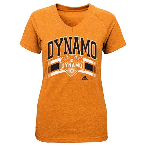 adidas™ Girls' Houston Dynamo Middle Stripe Logo V-neck T-shirt