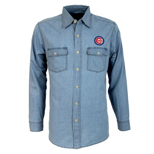 Antigua Men's Chicago Cubs Long Sleeve Button Down Chambray Shirt