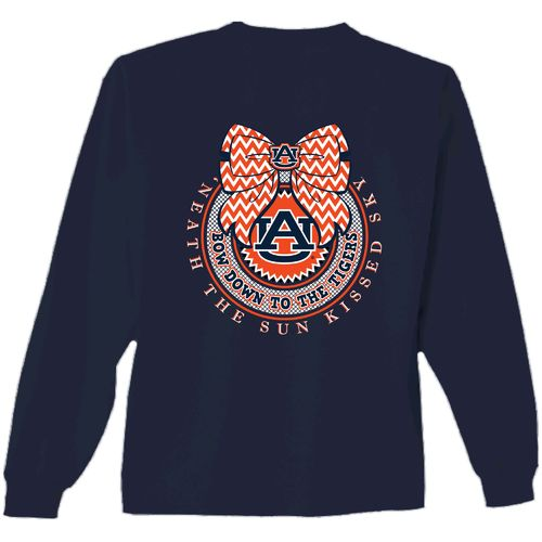 New World Graphics Women's Auburn University Ribbon Bow Long Sleeve T-shirt