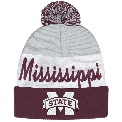adidas™ Men's Mississippi State University Cuffed Pom Knit Cap