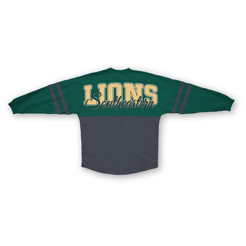 Three Squared Juniors' Southeastern Louisiana University Varsity Script Logo Sweeper T-shirt