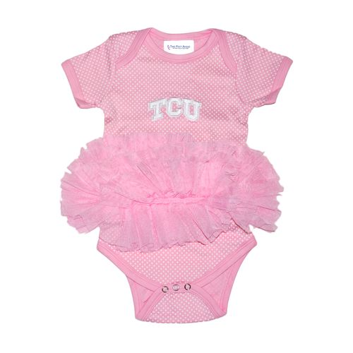 Two Feet Ahead Infant Girls' Texas Christian University Pin Dot Tutu Creeper