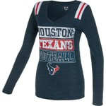 5th & Ocean Clothing Juniors' Houston Texans Block Lettering Long Sleeve T-shirt