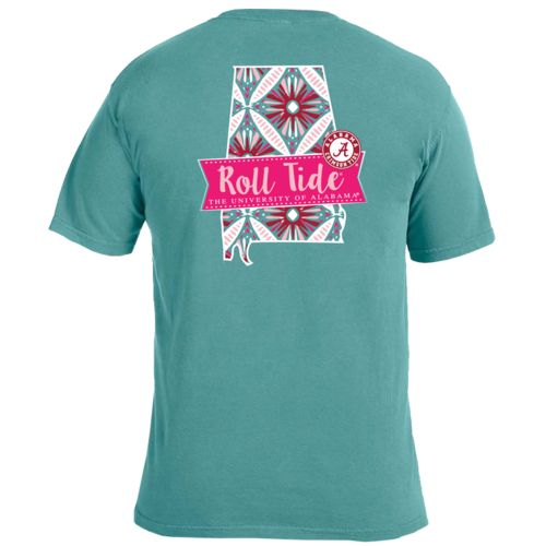 Image One Women's University of Alabama Pattern Scroll State T-shirt