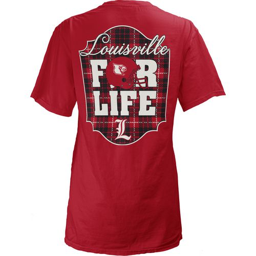 Three Squared Juniors' University of Louisville Team For Life Short Sleeve V-neck T-shirt