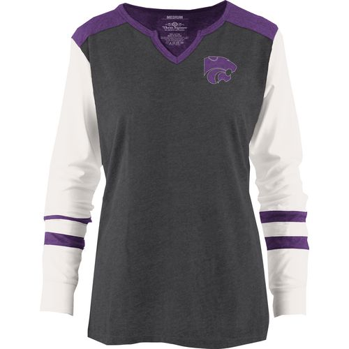 Three Squared Juniors' Kansas State University Mia Raglan Long Sleeve Henley Shirt