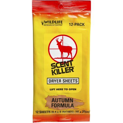 Display product reviews for Wildlife Research Center® Scent Killer® Autumn Formula® Dryer Sheets 12-Pack