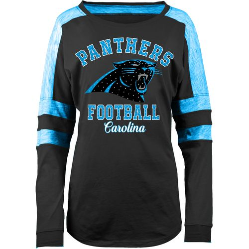5th & Ocean Clothing Women's Carolina Panthers Space Dye Long Sleeve Fan Top