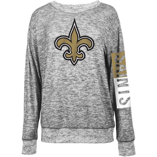 5th & Ocean Clothing Women's New Orleans Saints Space Dye Logo Sweater Knit Pullover