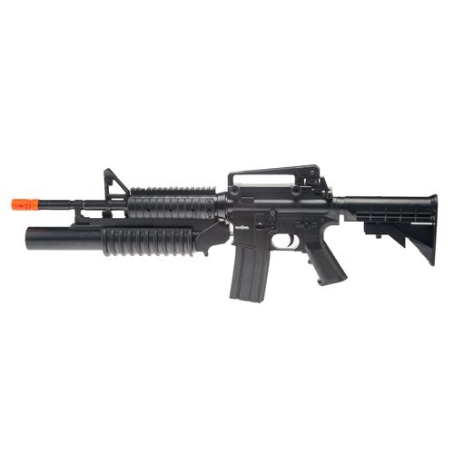 War Inc. M4-A1 RIS Dual-Loading Spring-Powered Airsoft Rifle with Grenade Launcher