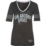 adidas Women's San Antonio Spurs Franchise Deep V-neck Slub T-shirt