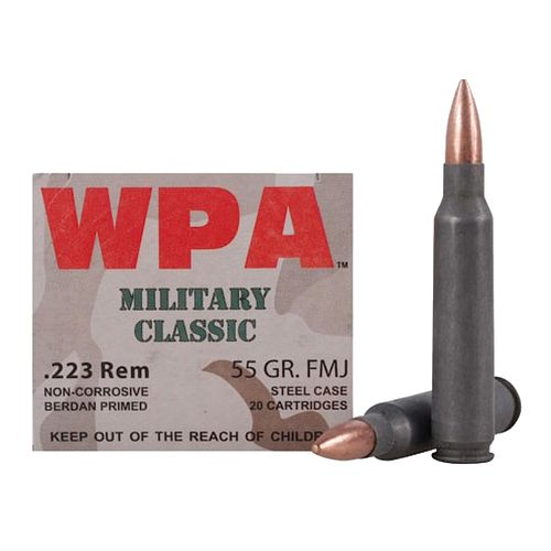 WOLF Performance Ammunition Military Classic .223 Rem./5.56 NATO 55-Grain FMJ Centerfire Rifle Ammun