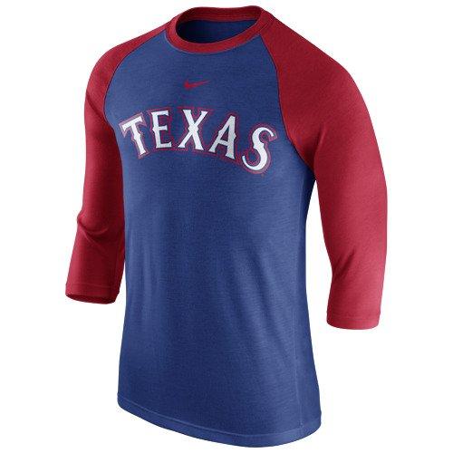 Nike Mens Texas Rangers Wordmark Raglan 34 Sleeve T