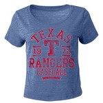 5th & Ocean Clothing Juniors' Texas Rangers Triblend Crop Top