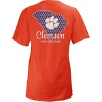 Three Squared Juniors' Clemson University State Monogram Anchor T-shirt