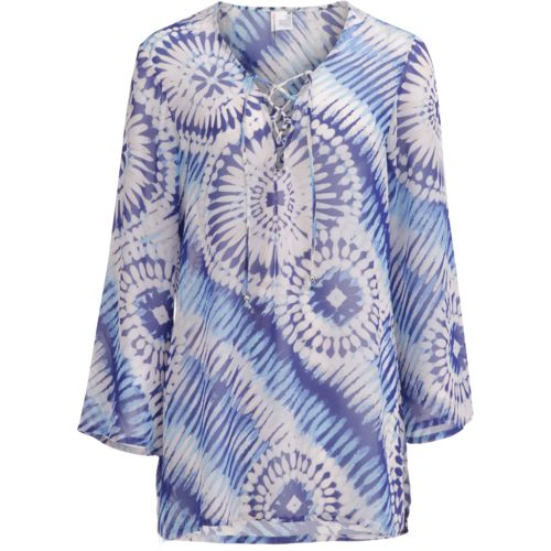 O'Rageous Women's Bell Sleeve Lace Up Tunic Cover-Up