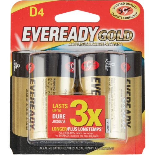 Eveready Gold D Alkaline Batteries 4-Pack