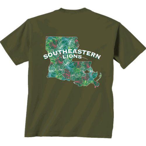 New World Graphics Women's Southeastern Louisiana University Comfort Color Puff Arch T-shirt