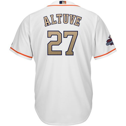Display product reviews for Majestic Adults' Houston Astros Jose Altuve 27 Gold COOL BASE Jersey