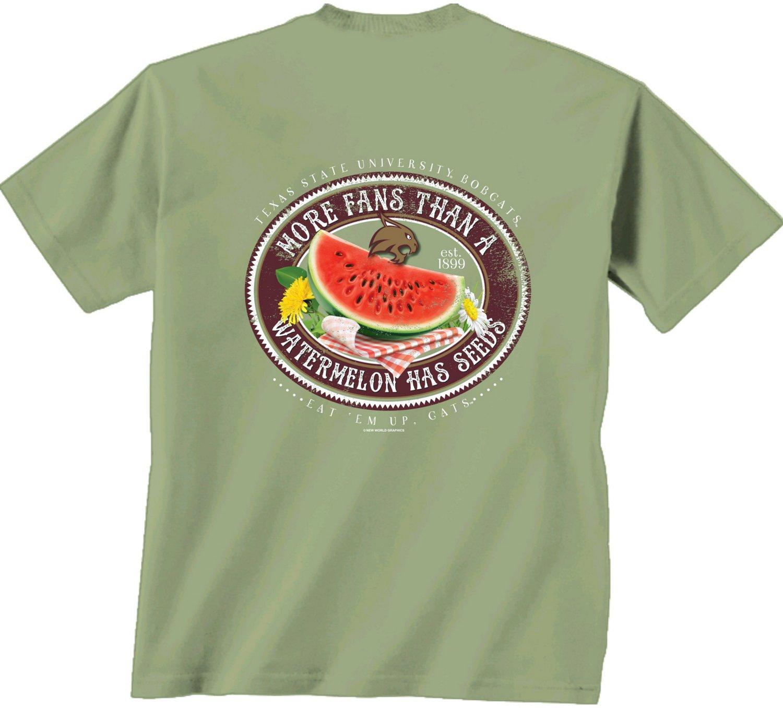 Nice New World Graphics Women's Texas State University Watermelon Label T-shirt