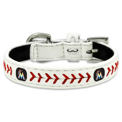 GameWear Miami Marlins Classic Leather Toy Baseball Dog Collar