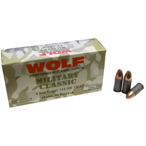 WOLF Performance Ammunition Military Classic 9mm 115-Grain FMJ Centerfire Handgun Ammunition