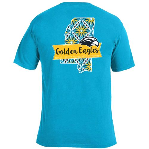 Image One Women's University of Southern Mississippi Pattern Scroll State T-shirt