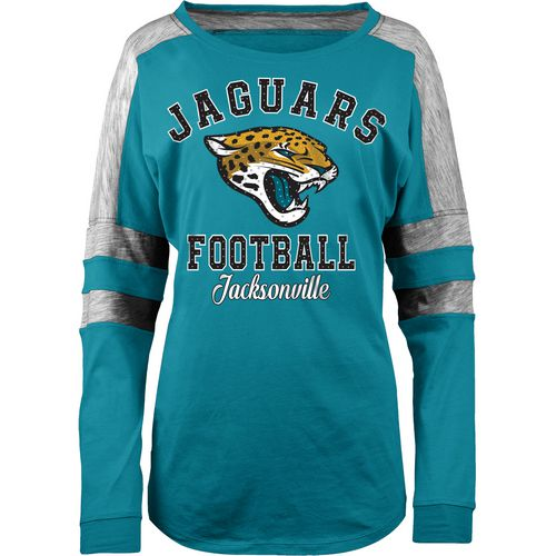 5th & Ocean Clothing Women's Jacksonville Jaguars Space Dye Long Sleeve Fan Top