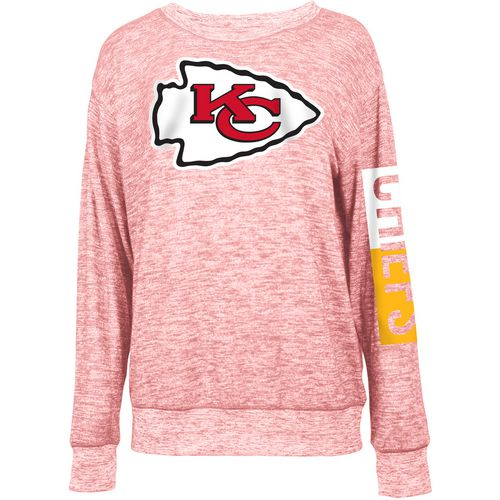 5th & Ocean Clothing Women's Kansas City Chiefs Space Dye Logo Sweater Knit Pullover