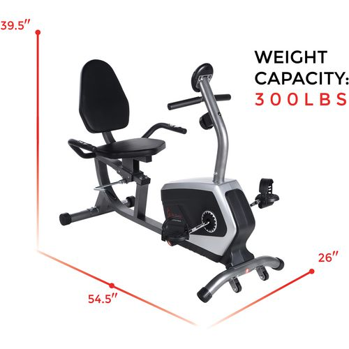 Sunny Health & Fitness Easy Adjustable Seat Recumbent Bike - view number 12