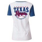 5th & Ocean Clothing Juniors' Texas Rangers Pinstripe Henley Shirt