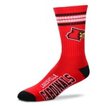 FBF Originals Adults' University of Louisville 4-Stripe Deuce Socks