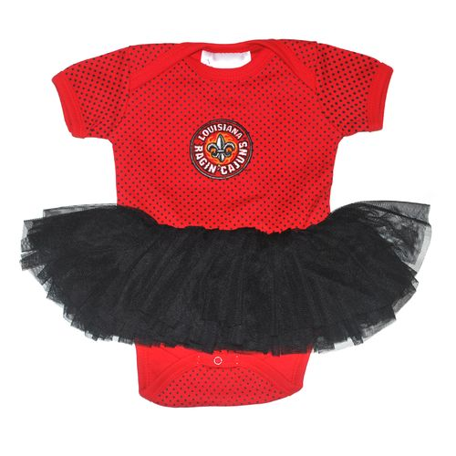 Two Feet Ahead Infant Girls' University of Louisiana at Lafayette Pin Dot Tutu Creeper