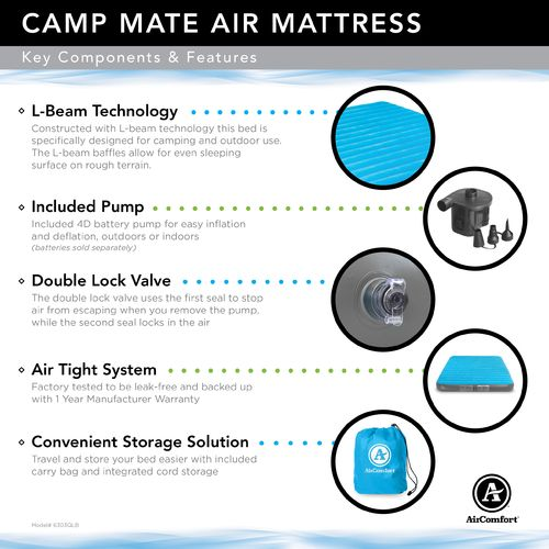 Air Comfort Camp Mate Queen-Size Air Mattress with Battery-Powered Pump - view number 10