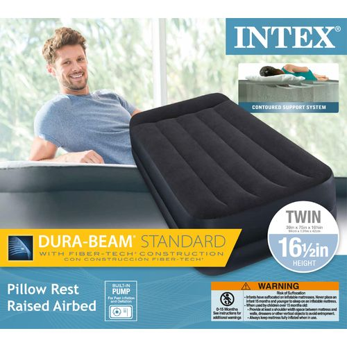 INTEX Dura-Beam Pillow Rest Twin-Size Airbed with Built-In Pump - view number 3