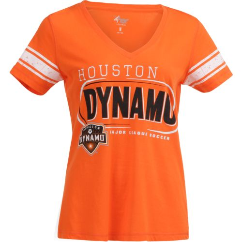G-III for Her Women's Houston Dynamo First Pick Striped V-neck T-shirt
