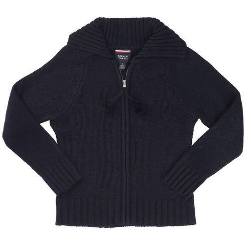 French Toast Girls' Pom-Pom Zip-Up Sweater
