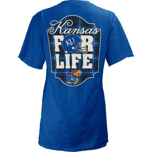 Three Squared Juniors' University of Kansas Team For Life Short Sleeve V-neck T-shirt