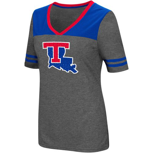 Colosseum Athletics Women's Louisiana Tech University Twist V-neck 2.3 T-shirt
