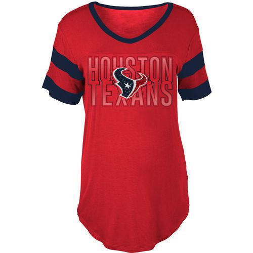 5th & Ocean Clothing Women's Houston Texans Sleeve Stripe Fan T-shirt