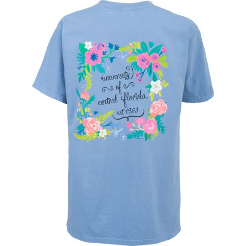 New World Graphics Women's University of Central Florida Comfort Color Circle Flowers T-shirt