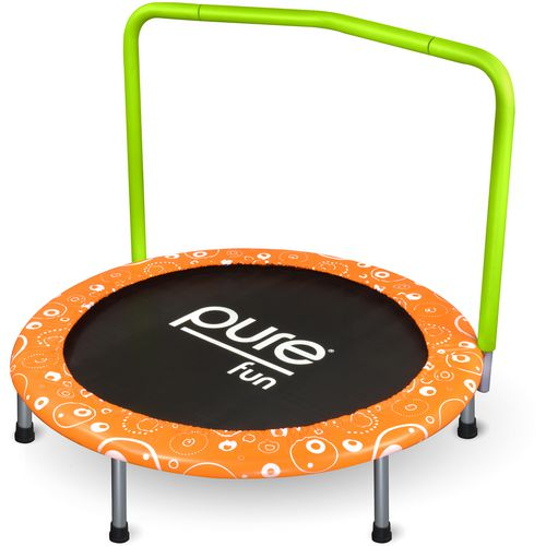 Pure Fun Kids' Foldable Trampoline with Handrail