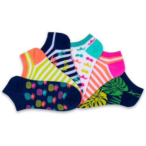 BCG Girls' Printed No-Show Socks 6 Pack