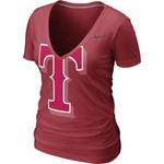 Nike Women's Texas Rangers Deep V-neck Burnout T-shirt